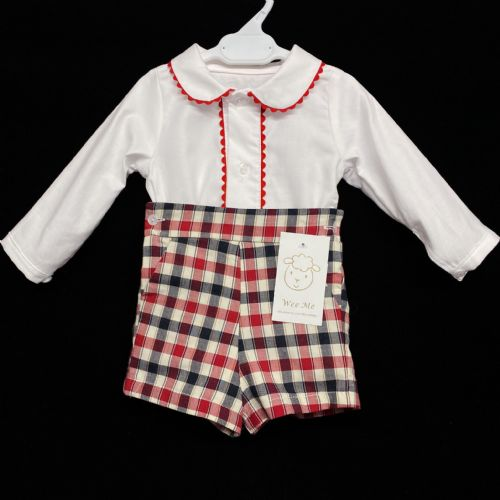 *AW20 Baby Boy Red Checked Spanish Long Sleeve Shorts Set MYD203R